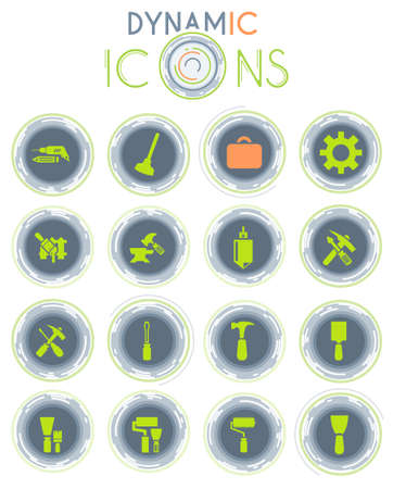 Work tools vector icons on white background with dynamic lines for animation for web and user interface design