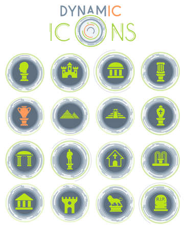monuments vector icons on white background with dynamic lines for animation for web and user interface design Vettoriali