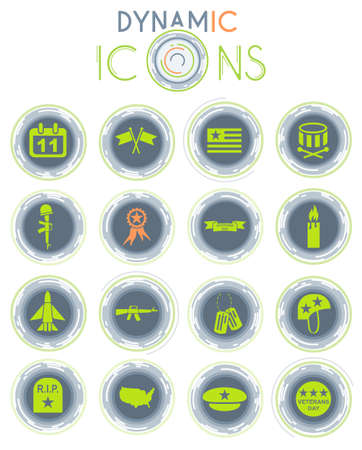veterans day web icons for user interface design Vettoriali