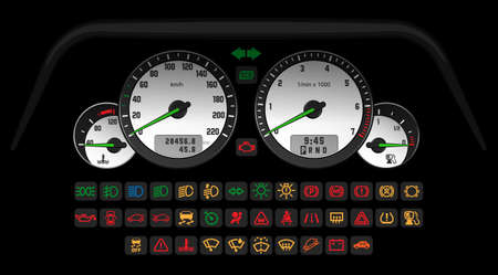 Car control white interface with a set of information icons indicating the status of the car. Vector illustration, template for game or web app
