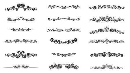 Text Divider icons set. Outline sign border element kit. Page Decoration linear icon paper break, book decoration. Simple separator black contour symbol isolated on white vector Illustration