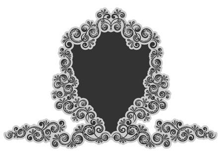 Decorative frame. Abstract vintage floral decoration. Monogram black contour symbol isolated vector Illustration