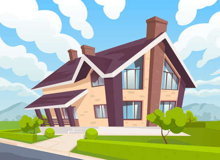 Two-storey country house green lawn and blue sky with clouds. vector illustration