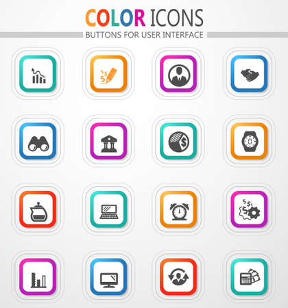 Management vector flat button icons with colored outline and shadow 矢量图像