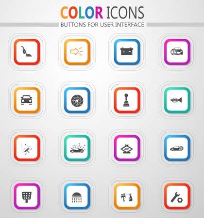 Auto parts store vector flat button icons with colored outline and shadow