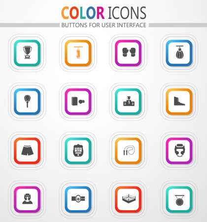 Boxing match vector flat button icons with colored outline and shadow