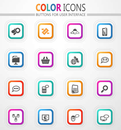 Data analytic and social network vector flat button icons with colored outline and shadow 矢量图像