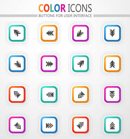 Arrows, directions and signposts vector flat button icons with colored outline and shadow