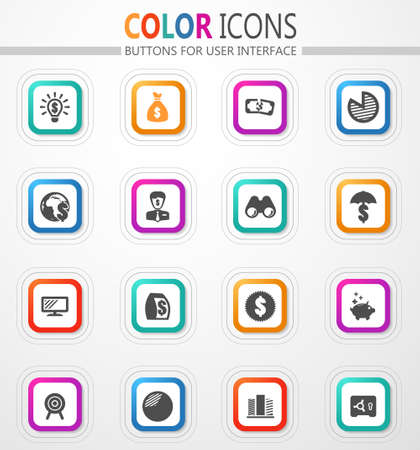 Business and commerce vector flat button icons with colored outline and shadow
