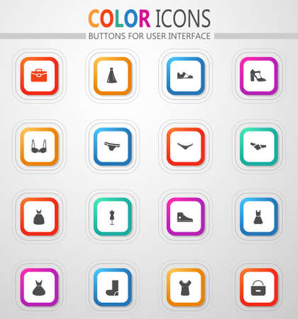 Clothing and footwear store vector flat button icons with colored outline and shadow