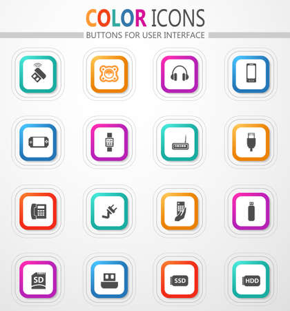 Devices vector flat button icons with colored outline and shadow