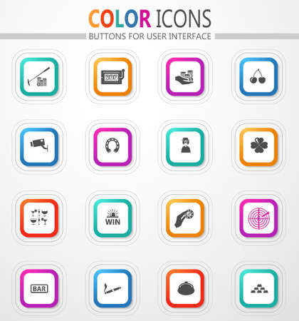 Casino and gambling vector flat button icons with colored outline and shadow