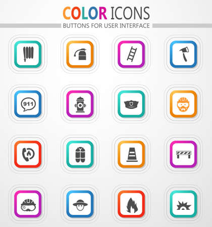 Fire brigade icons set for web sites and user interface 矢量图像