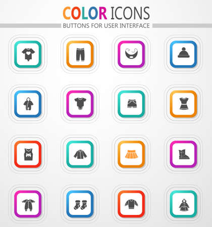 Children's clothing vector flat button icons with colored outline and shadow