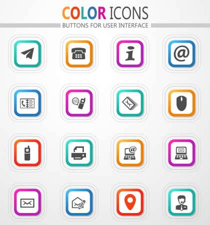 Communication technology and postal services vector flat button icons with colored outline and shadow 矢量图像