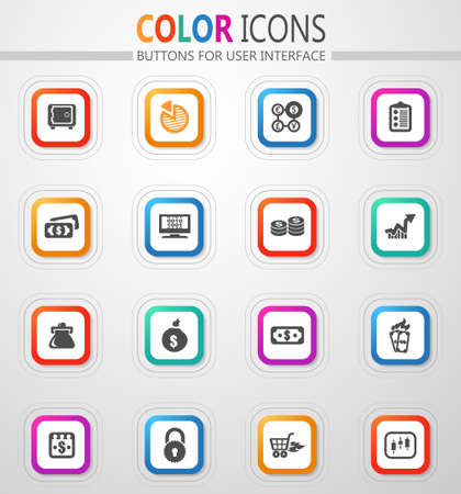 E-commerce vector flat button icons with colored outline and shadow 矢量图像