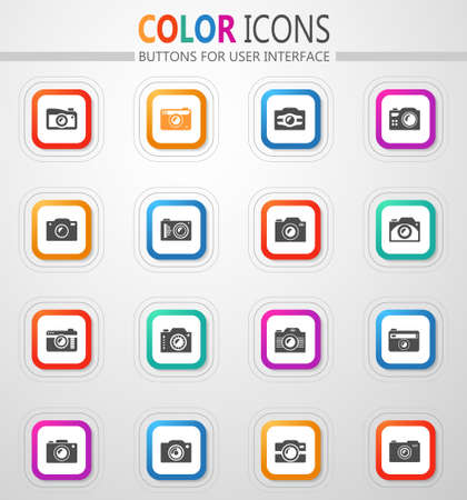 camera vector flat button icons with colored outline and shadow
