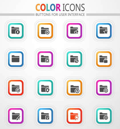 Folders icon set for web sites and user interface 矢量图像