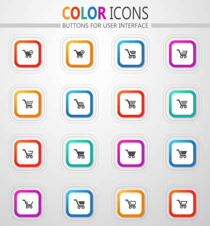 Shopping baskets and carts vector flat button icons with colored outline and shadow
