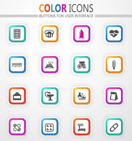 Drug store vector flat button icons with colored outline and shadow