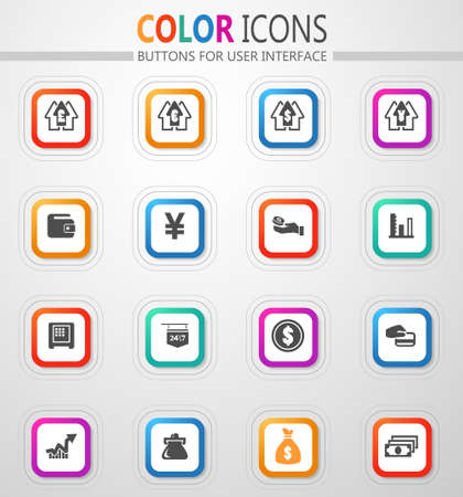 Currency exchange vector flat button icons with colored outline and shadow 矢量图像