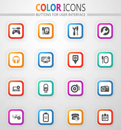 Electron icons set for web sites and user interface 矢量图像