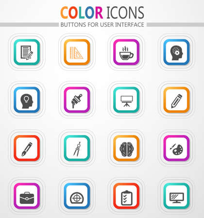 Creative process vector flat button icons with colored outline and shadow