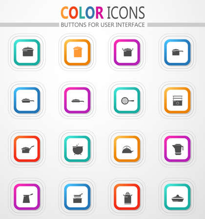 Dishes vector flat button icons with colored outline and shadow 矢量图像