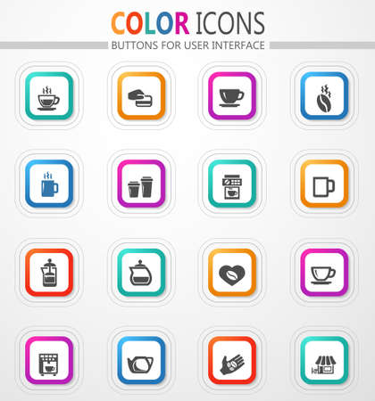 Coffee house. Making coffee vector flat button icons with colored outline and shadow