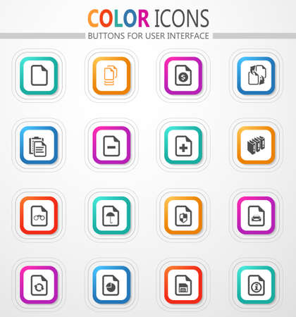 Documents vector flat button icons with colored outline and shadow 矢量图像