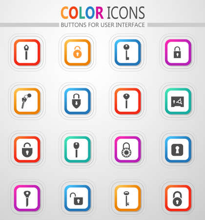 Lock and Key icon set for web sites and user interface