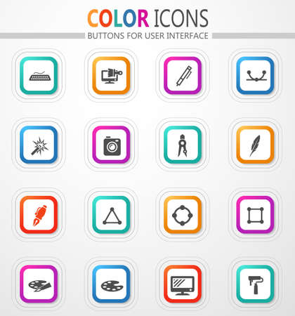 Design tools vector flat button icons with colored outline and shadow 矢量图像