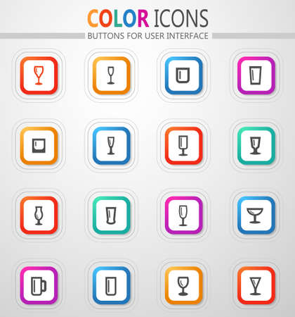 Glasses and cups vector icons for user interface design