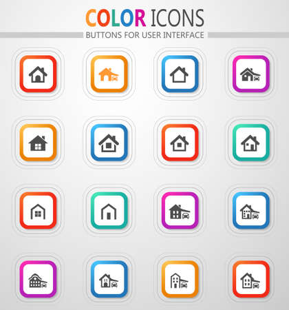 house type icon set for web sites and user interface