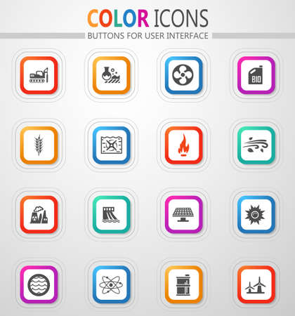 Fuel Power generation vector icons for user interface design 矢量图像