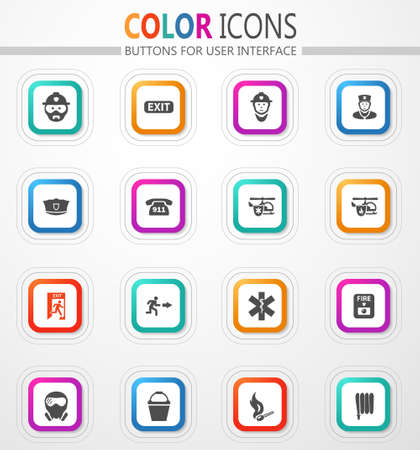 vector flat button icons with colored outline and shadow 矢量图像