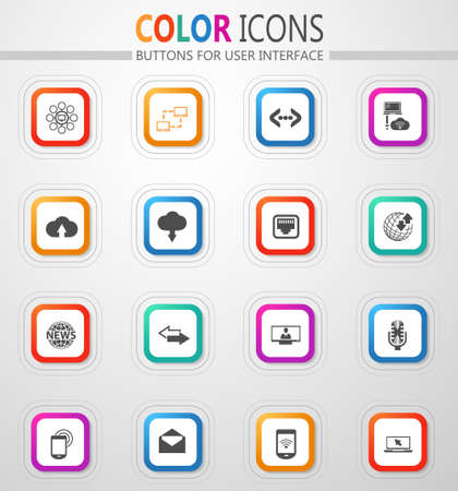 Communication technology and information transmission vector flat button icons with colored outline and shadow