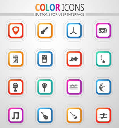 Guitar and accessories vector icons for user interface design