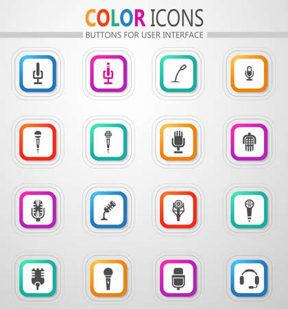 Microphone icon set for web sites and user interface 矢量图像