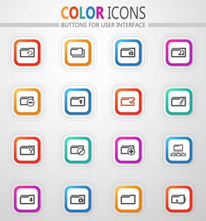 Folder vector icons for user interface design