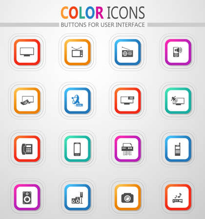 Home appliances icon set for web sites and user interface 矢量图像