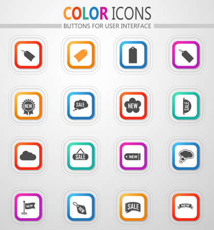 New stiker and label icon set for web sites and user interface