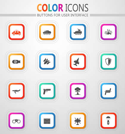 Military and war simply icons for web and user interfaces Illusztráció