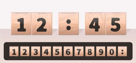 Concept clock made of wooden cubes with a set of numbers