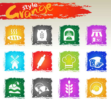 Bakeshop icon set for your design. Grange icons style