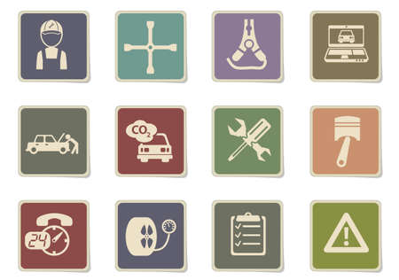 Car services paper stickers icon set for your design. vector icons