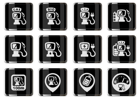 Refueling cars station pictograms in black chrome buttons. vector icon set for user interface design