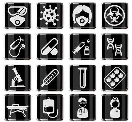 Coronavirus pictograms in black chrome buttons. icon set for infographic or website. Novel Coronavirus 2019-nCoV. 2019 and 2020 epidemic COVID-19 矢量图像