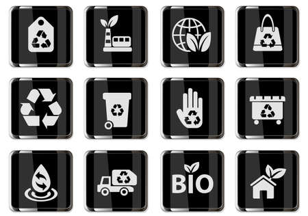 Recycling pictograms in black chrome buttons. icon set for user interface design 矢量图像