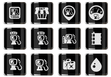 Vector gas station pictograms in black chrome buttons. icons set for user interface design